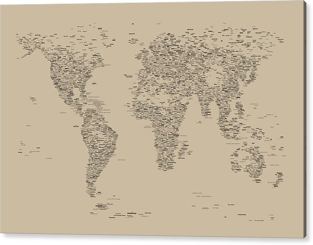 Map Of The World Acrylic Print featuring the digital art World Map Of Cities by Michael Tompsett