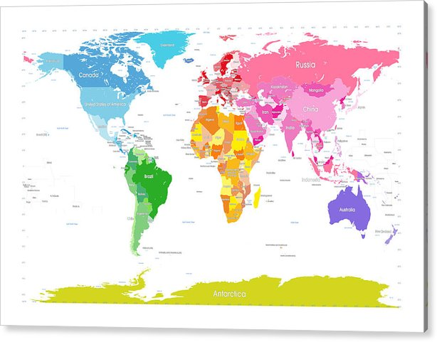 graphic regarding Large Printable World Map titled Continents Entire world Map High Terms For Young children Acrylic Print