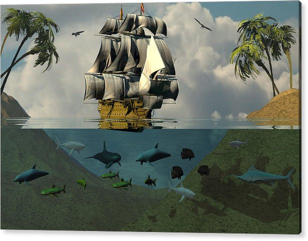 Bryce Acrylic Print featuring the digital art South Sea Adventure by Claude McCoy