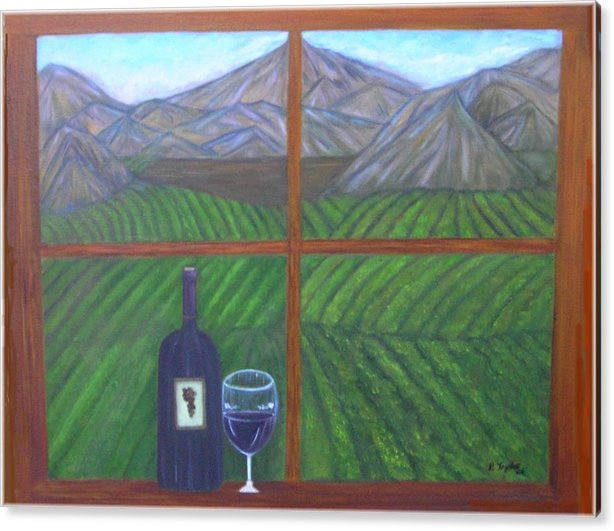 Vinyard Acrylic Print featuring the painting Valley View by Paula Taylor