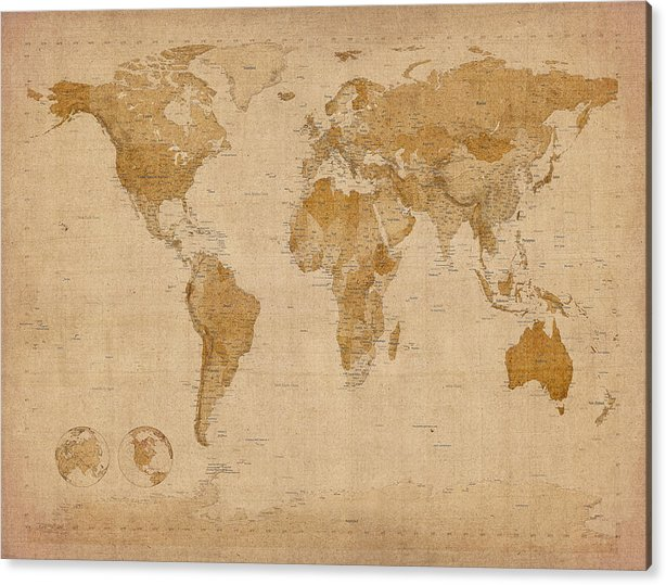 World Map Acrylic Print featuring the digital art World Map Antique Style by Michael Tompsett