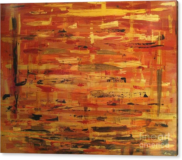 Abstract Art. Gold Acrylic Print featuring the painting Layers Of Life by Sandra Lunde