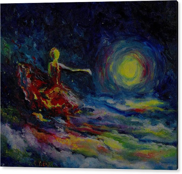 Skyscape Acrylic Print featuring the painting Dancing With The Moon by Stephanie Cox