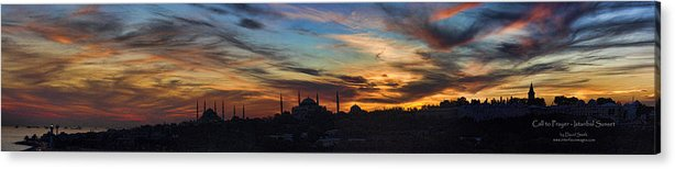 Panoramic Acrylic Print featuring the photograph Panorama Of Istanbul Sunset- Call To Prayer by David Smith