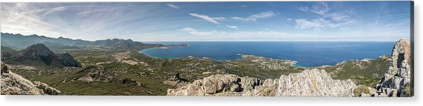 Ancient Acrylic Print featuring the photograph Panoramic View Across Calvi Bay And Revellata In Corsica by Jon Ingall