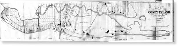 Coney Island Map Acrylic Print featuring the drawing Vintage Map Of Coney Island by CartographyAssociates