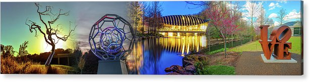 America Acrylic Print featuring the photograph Crystal Bridges Museum Of American Art Collage - Bentonville Arkansas by Gregory Ballos