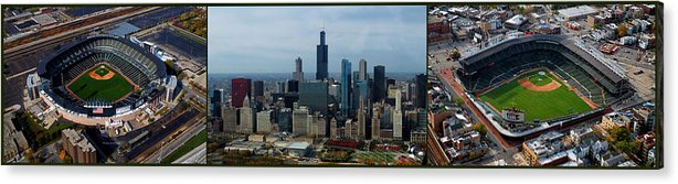 White Sox Acrylic Print featuring the photograph Wrigley And Us Cellular Fields Chicago Baseball Parks 3 Panel Composite 01 by Thomas Woolworth