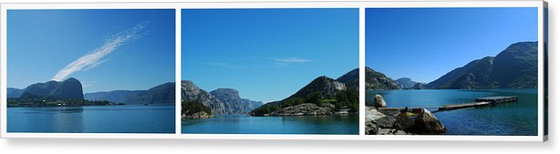 Triptych Acrylic Print featuring the photograph Lysefjord Triptych. by Terence Davis