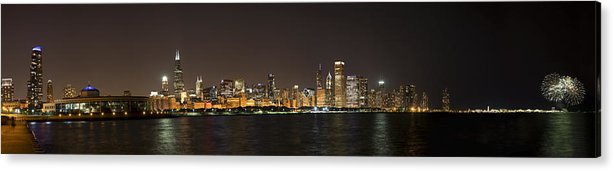 3scape Photos Acrylic Print featuring the photograph Beautiful Chicago Skyline With Fireworks by Adam Romanowicz