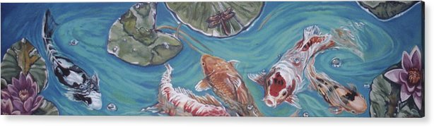 Fish Acrylic Print featuring the painting Koi Pond by Diann Baggett