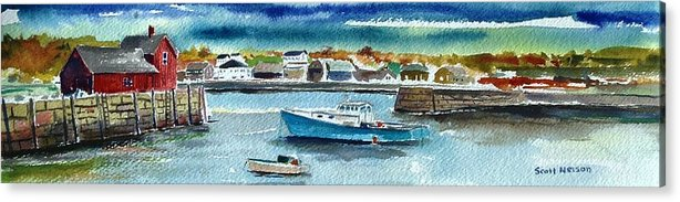 Rockport Acrylic Print featuring the painting Rockport Harbor by Scott Nelson