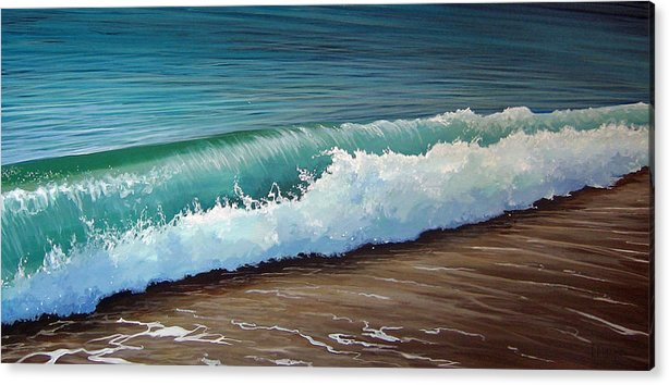 Wave On A Florida Beach Acrylic Print featuring the painting To the Shore by Hunter Jay