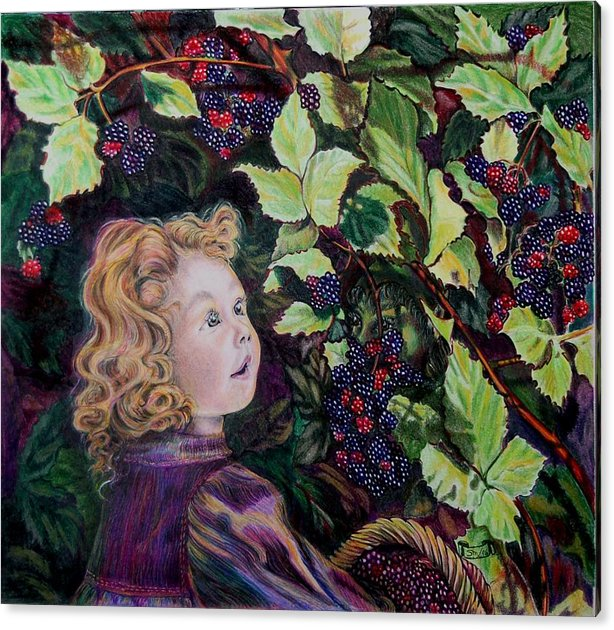 Blackberry Acrylic Print featuring the drawing Blackberry Elf by Susan Moore