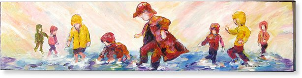 Mothers And Children Bonding Acrylic Print featuring the mixed media Puddle Jumpers by Naomi Gerrard