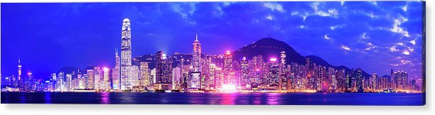 Downtown District Acrylic Print featuring the photograph Hong Kong City Skyline In China by Deejpilot