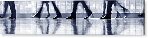Corporate Business Acrylic Print featuring the photograph Businesspeople Walking In Lobby, Low by Poba