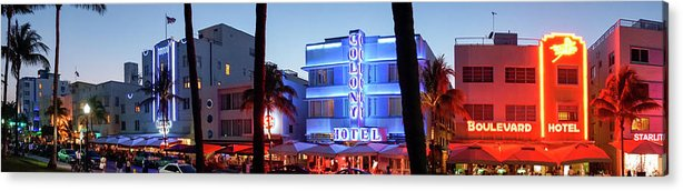 Panoramic Acrylic Print featuring the photograph Art Deco Hotels On Ocean Drive At Dusk by Buena Vista Images