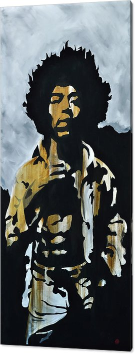 Jimi Hendrix Acrylic Print featuring the painting Jimi Hendrix The Blues is easy to play but hard to Feel by Brad Jensen