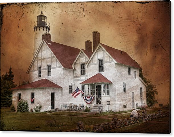 Lighthouse Acrylic Print featuring the photograph Point Iroquois Lighthouse Michigan by Evie Carrier