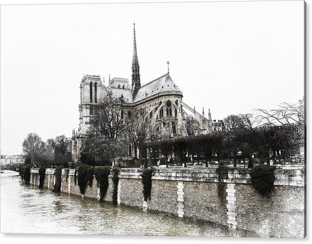 Evie Acrylic Print featuring the photograph Watercolor Notre Dame Paris by Evie Carrier