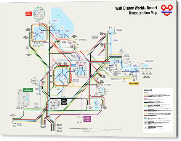 graphic relating to Printable Disney Maps named Walt Disney International Vacation resort Transport Map Acrylic Print