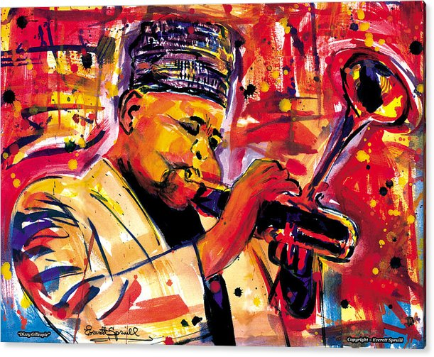 Dizzy Gillespie Acrylic Print featuring the painting Dizzy Gillespie by Everett Spruill