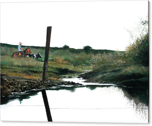 Landscape Acrylic Print featuring the painting Reflection by Pedro Mauro Dias