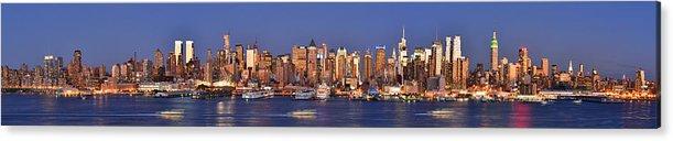 New York City Skyline At Dusk Acrylic Print featuring the photograph New York City Midtown Manhattan At Dusk by Jon Holiday