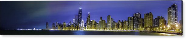 Chicago Photographs Acrylic Print featuring the photograph The Chicago Skyline Night-panoramic-001 by David Allen Pierson