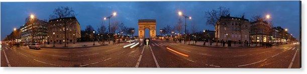 Panorama Acrylic Print featuring the photograph Arc De Triomphe by Alberto Otuyama
