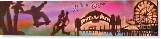 Graffiti Acrylic Print featuring the painting Venice Beach To Santa Monica Pink by Tony B Conscious