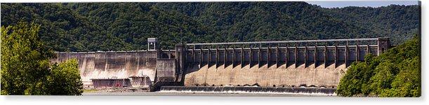 Bluestone Acrylic Print featuring the photograph Bluestone West Virginia Dam Panorama by Teresa Mucha