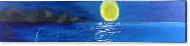 Seascape Acrylic Print featuring the painting Lady Moon by Helene Lagoudakis