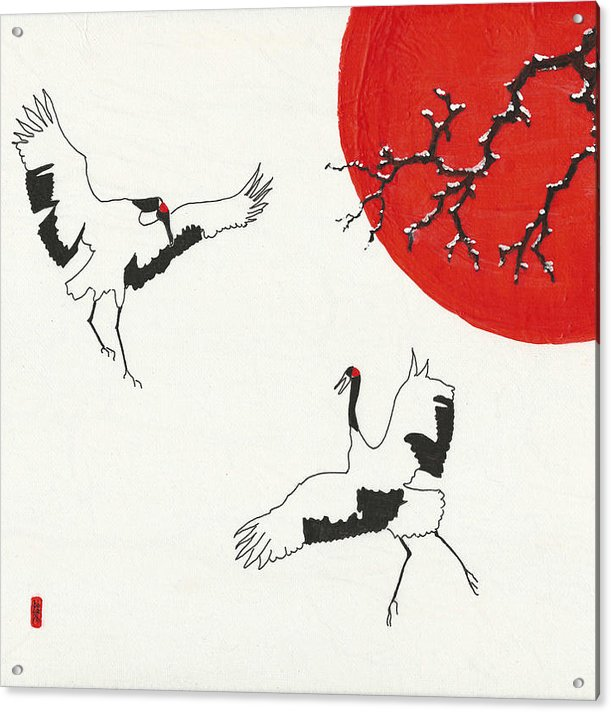 Two Dancing Cranes by Stephanie Grant