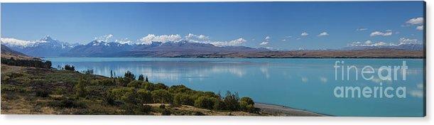 Lake Pukaki Acrylic Print featuring the photograph Mount Cook and Lake Pukaki panorama by Sheila Smart Fine Art Photography