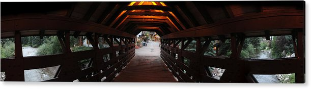 Vail Acrylic Print featuring the photograph Covered Bridge In Vail Colorado Panorama by Jeff Schomay