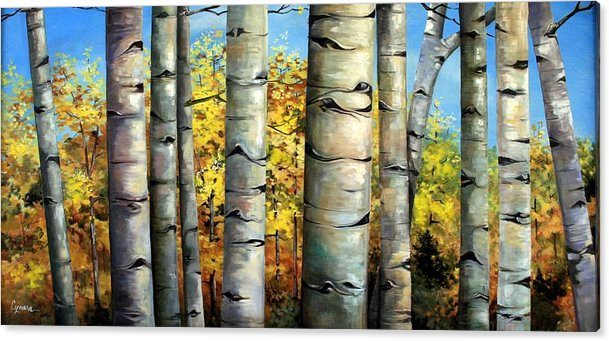 Aspens Acrylic Print featuring the painting Aspen Eyes by Cynara Shelton