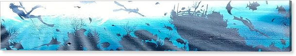 Spearfishing Speargun Divers Ocean Sea Water Colorful Fish Colors Color Blue Blue Black Sun Rays Fishing Swimming Diving Ship Shipwreck Key West Paintings Artwork Art Canvas Wood Acrylic Print featuring the painting Diver by Rafael Medina