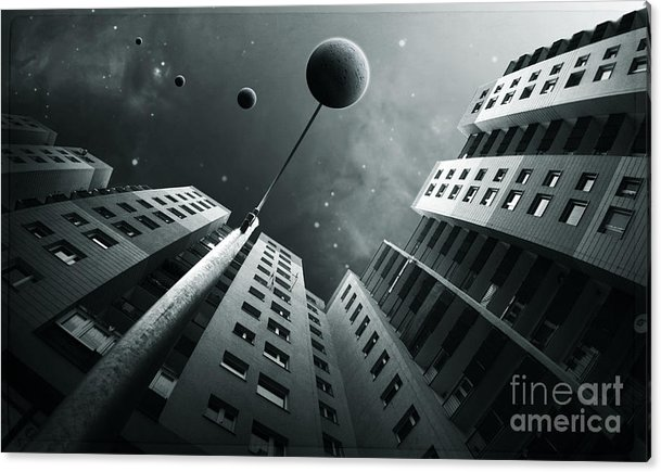 Surreal Acrylic Print featuring the digital art City2 by Simon Siwak