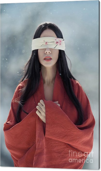 Beautiful asian woman with red sensual lips standing in the snow by Awen Fine Art Prints