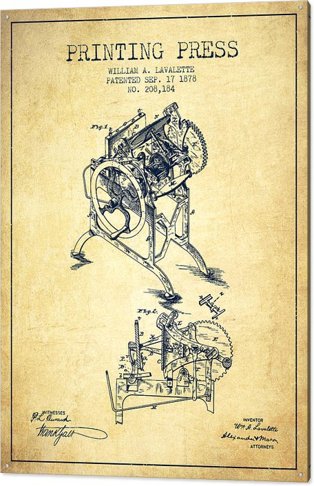 Printing Press Patent from 1878 - Vintage by Aged Pixel