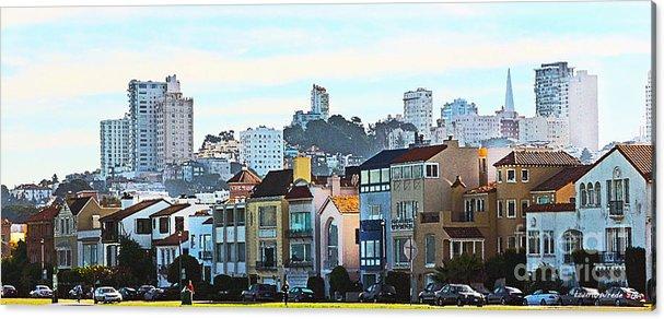 Fort Mason San Francisco Ca Acrylic Print featuring the painting Sunday At Marina Green Park Fort Mason San Francisco Ca by Artist and Photographer Laura Wrede