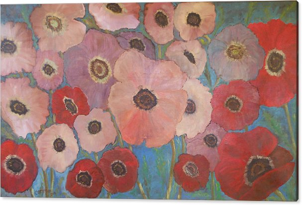 Poppies Acrylic Print featuring the painting Homage To Georgia by Rosemary Cotnoir