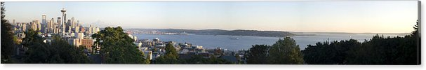 Panoramic Acrylic Print featuring the photograph Panoramic Of Seattle by Larry Keahey