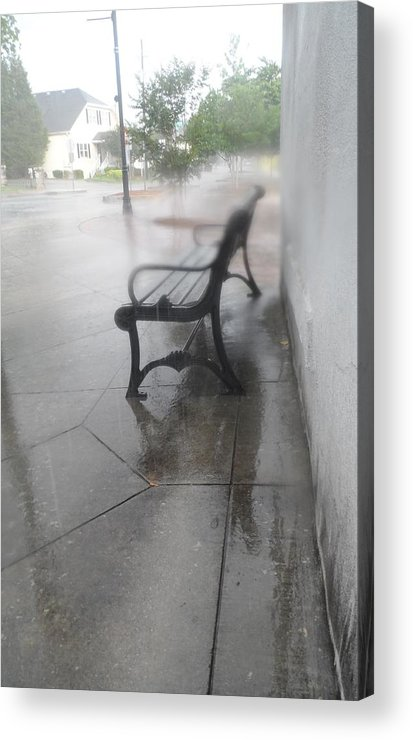 Rain Acrylic Print featuring the photograph Bench In The Rain by James Potts