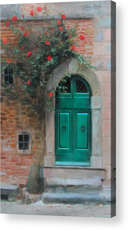 Roses Acrylic Print featuring the painting Climbing Roses Cortona Italy by Anna Rose Bain