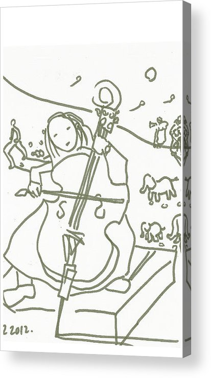 Cello Acrylic Print featuring the drawing Muse by Samuel Zylstra