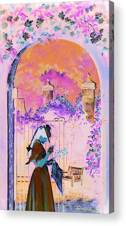 Rose Acrylic Print featuring the painting Afternoon Stroll by Jean Hildebrant