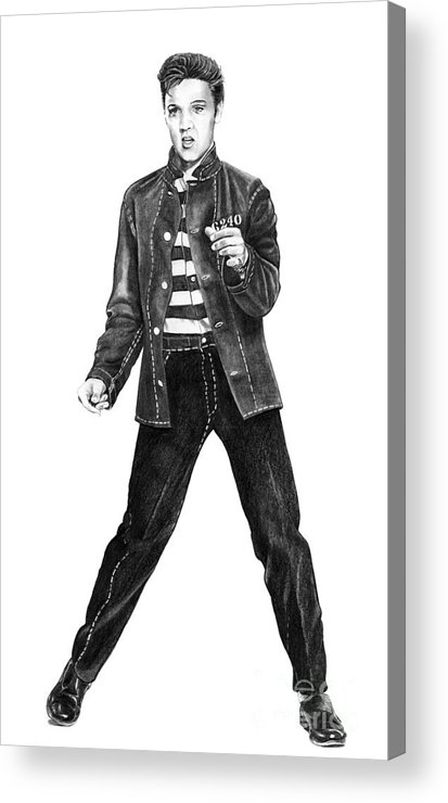 Elvis Acrylic Print featuring the drawing Elvis Presley  by Murphy Elliott